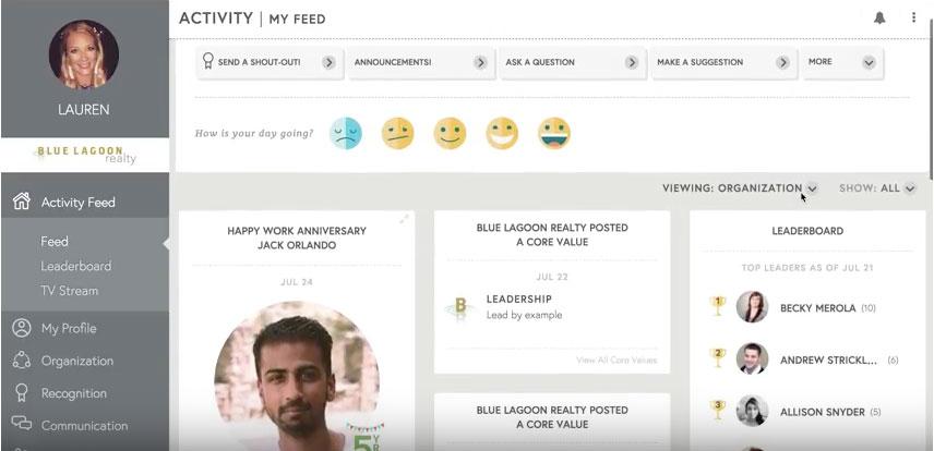 employee engagement software screenshot